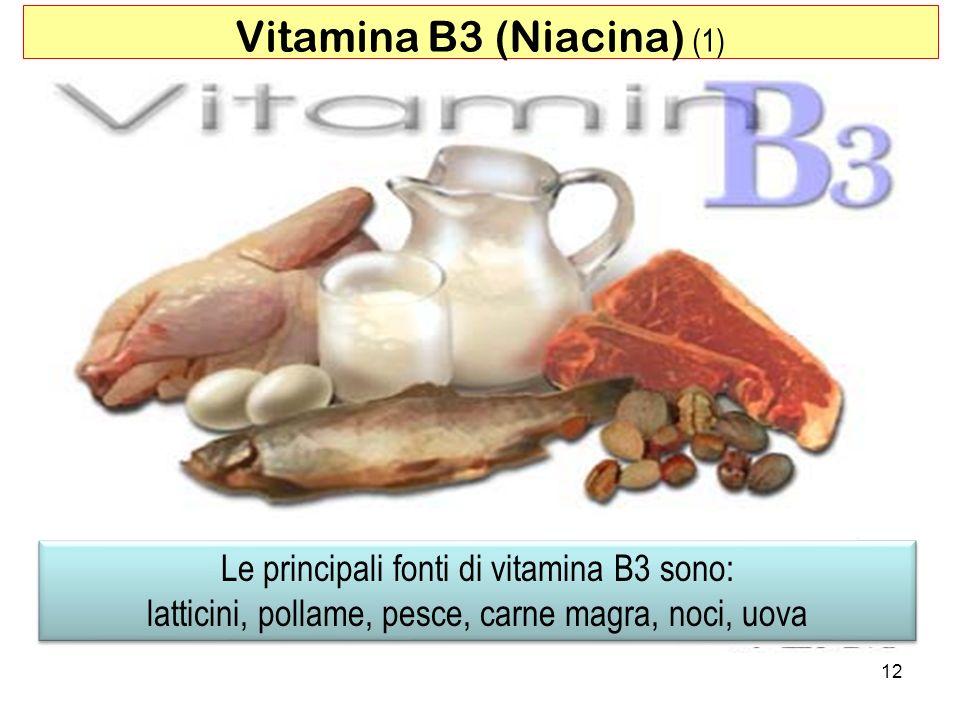 Le principali fonti di vitamina B3 sono: latticini, pollame, pesce, carne magra, noci, uova Le principali fonti di vitamina B3 sono: latticini, pollam