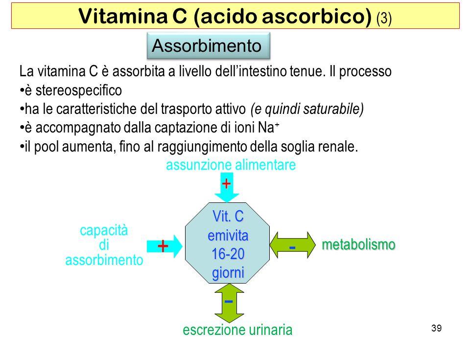 Assorbimento La vitamina C è assorbita a livello dellintestino tenue. Il processo è stereospecifico ha le caratteristiche del trasporto attivo (e quin