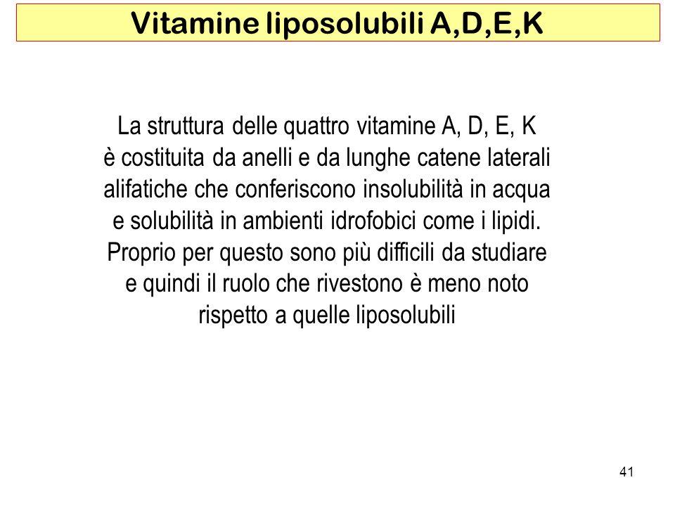 41 Vitamine liposolubili A,D,E,K La struttura delle quattro vitamine A, D, E, K è costituita da anelli e da lunghe catene laterali alifatiche che conf