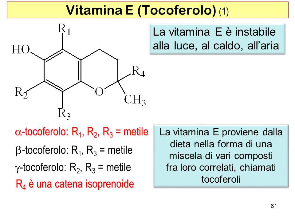 -tocoferolo: R 1, R 2, R 3 = metile -tocoferolo: R 1, R 2, R 3 = metile -tocoferolo: R 1, R 3 = metile -tocoferolo: R 2, R 3 = metile R 4 è una catena