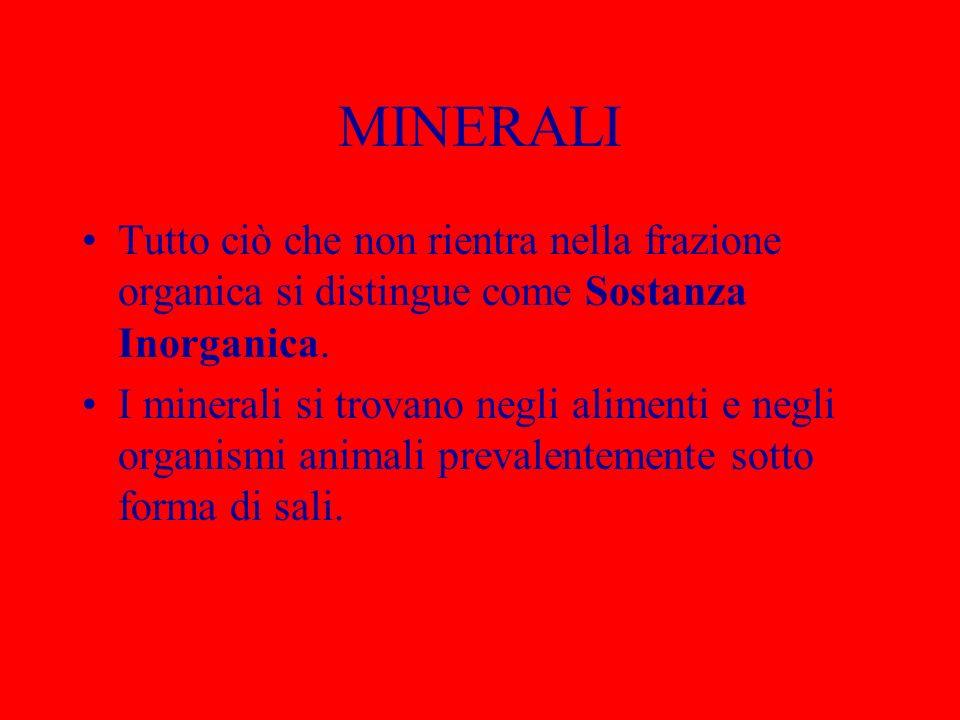 MINERALI Tutto ciò che non rientra nella frazione organica si distingue come Sostanza Inorganica. I minerali si trovano negli alimenti e negli organis