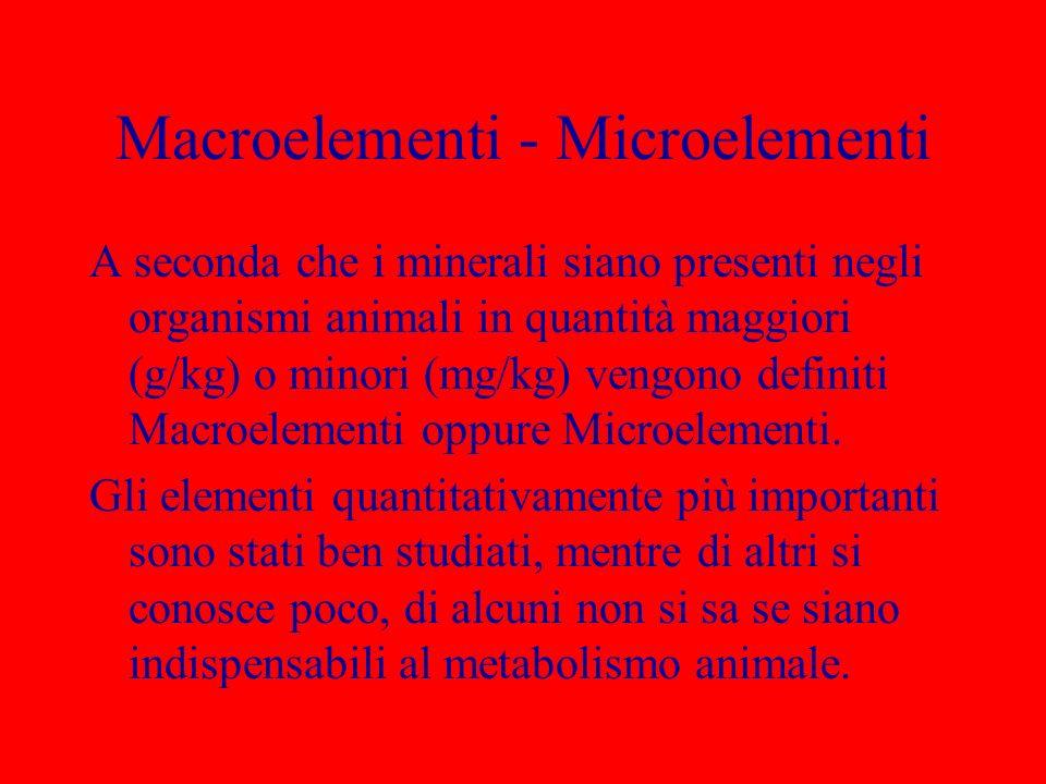 Macroelementi - Microelementi A seconda che i minerali siano presenti negli organismi animali in quantità maggiori (g/kg) o minori (mg/kg) vengono def