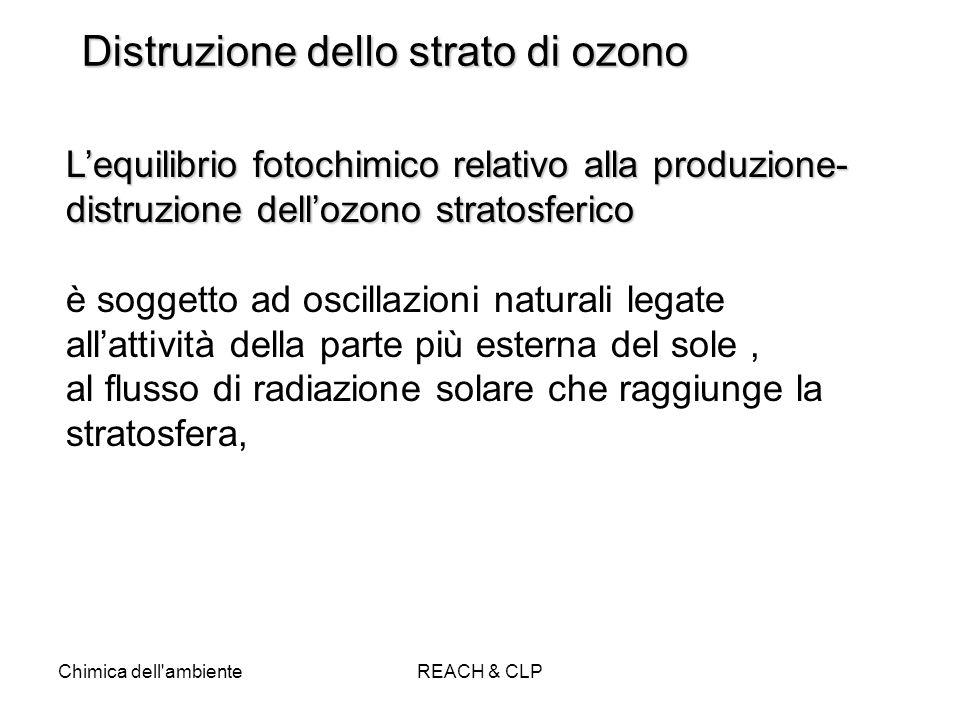 Chimica dell'ambienteREACH & CLP Distruzione dello strato di ozono Lequilibrio fotochimico relativo alla produzione- distruzione dellozono stratosferi