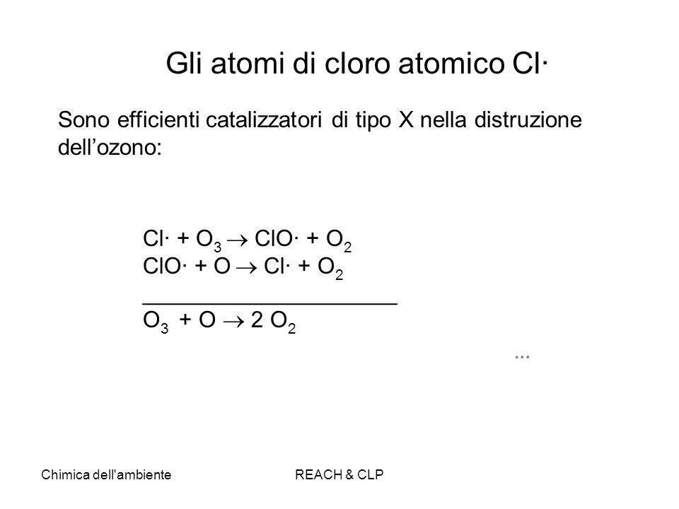 Chimica dell'ambienteREACH & CLP Cl· + O 3 ClO· + O 2 ClO· + O Cl· + O 2 ____________________ O 3 + O 2 O 2 … Gli atomi di cloro atomico Cl· Sono effi
