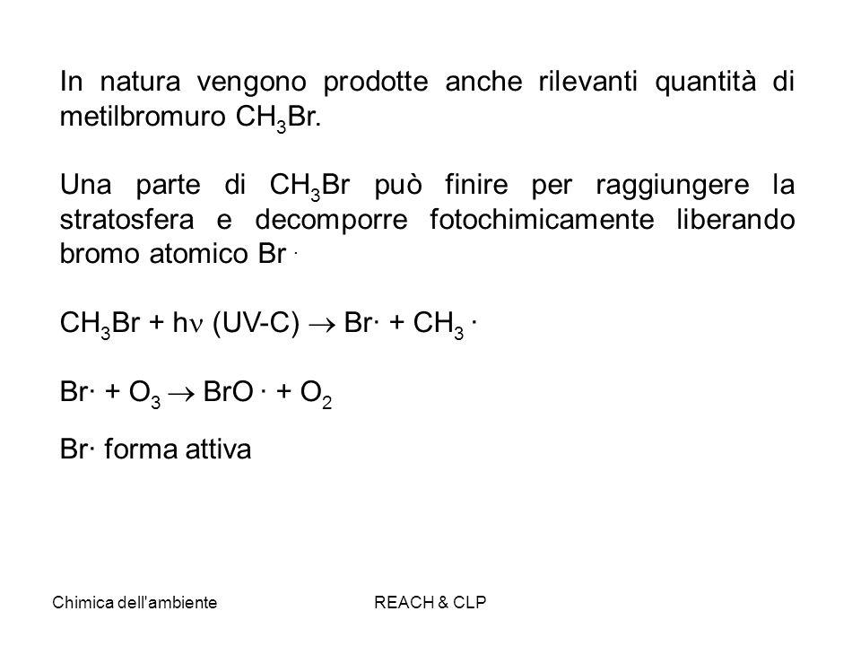 Chimica dell'ambienteREACH & CLP In natura vengono prodotte anche rilevanti quantità di metilbromuro CH 3 Br. Una parte di CH 3 Br può finire per ragg