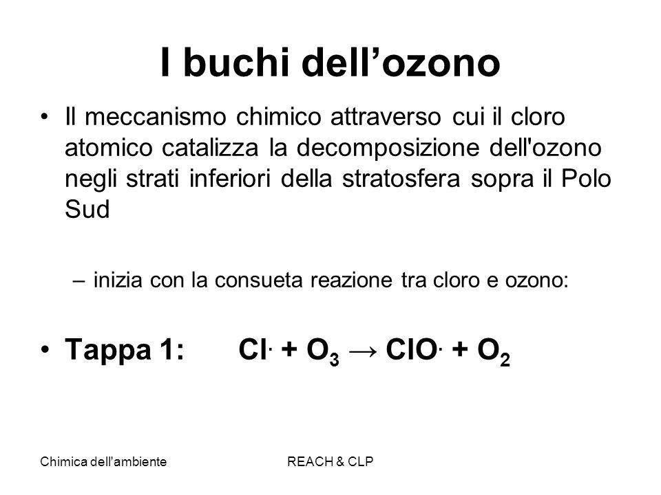 Chimica dell'ambienteREACH & CLP I buchi dellozono Il meccanismo chimico attraverso cui il cloro atomico catalizza la decomposizione dell'ozono negli