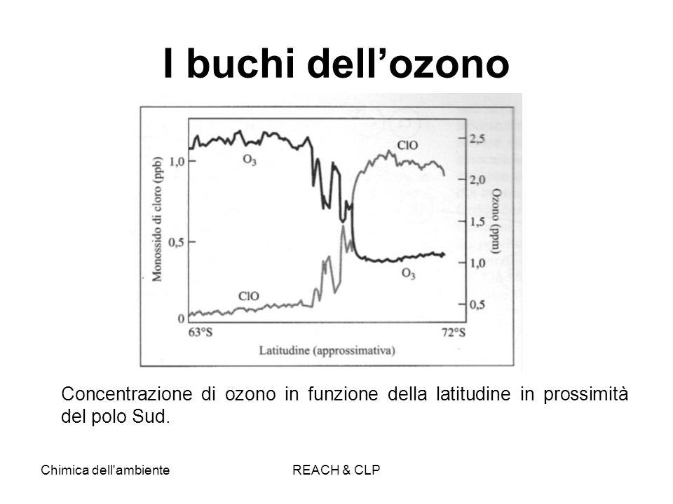 Chimica dell'ambienteREACH & CLP I buchi dellozono Concentrazione di ozono in funzione della latitudine in prossimità del polo Sud.