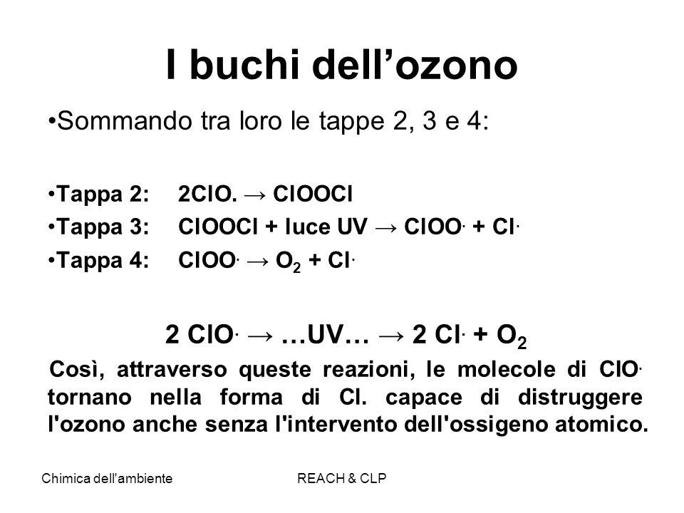 Chimica dell'ambienteREACH & CLP I buchi dellozono Sommando tra loro le tappe 2, 3 e 4: Tappa 2: 2ClO. ClOOCl Tappa 3: ClOOCl + luce UV ClOO. + Cl. Ta