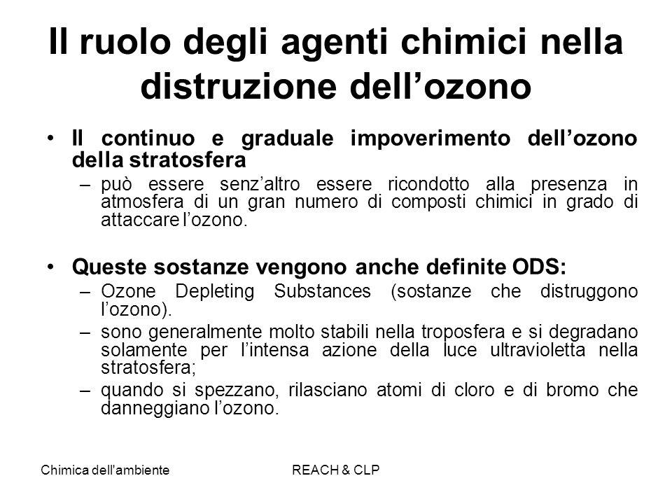 Chimica dell'ambienteREACH & CLP Il ruolo degli agenti chimici nella distruzione dellozono Il continuo e graduale impoverimento dellozono della strato