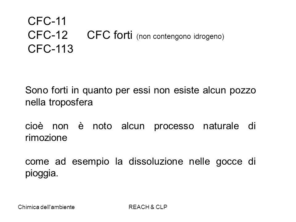 Chimica dell'ambienteREACH & CLP Sono forti in quanto per essi non esiste alcun pozzo nella troposfera cioè non è noto alcun processo naturale di rimo