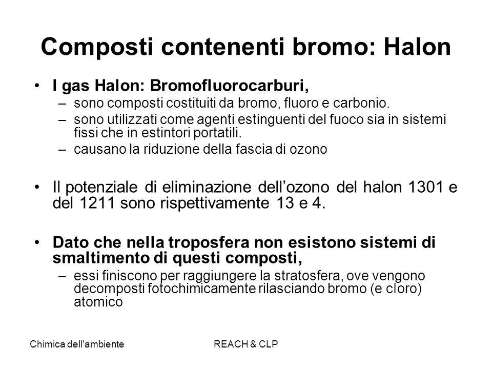 Chimica dell'ambienteREACH & CLP Composti contenenti bromo: Halon I gas Halon: Bromofluorocarburi, –sono composti costituiti da bromo, fluoro e carbon