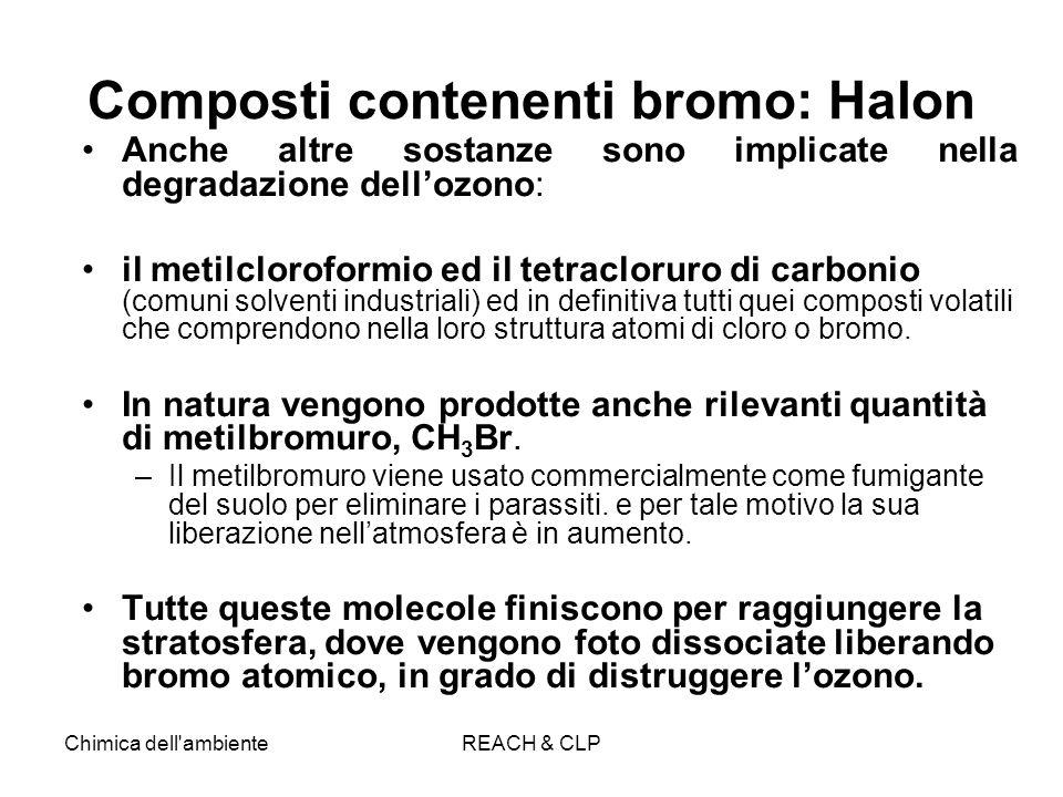 Chimica dell'ambienteREACH & CLP Composti contenenti bromo: Halon Anche altre sostanze sono implicate nella degradazione dellozono: il metilcloroformi