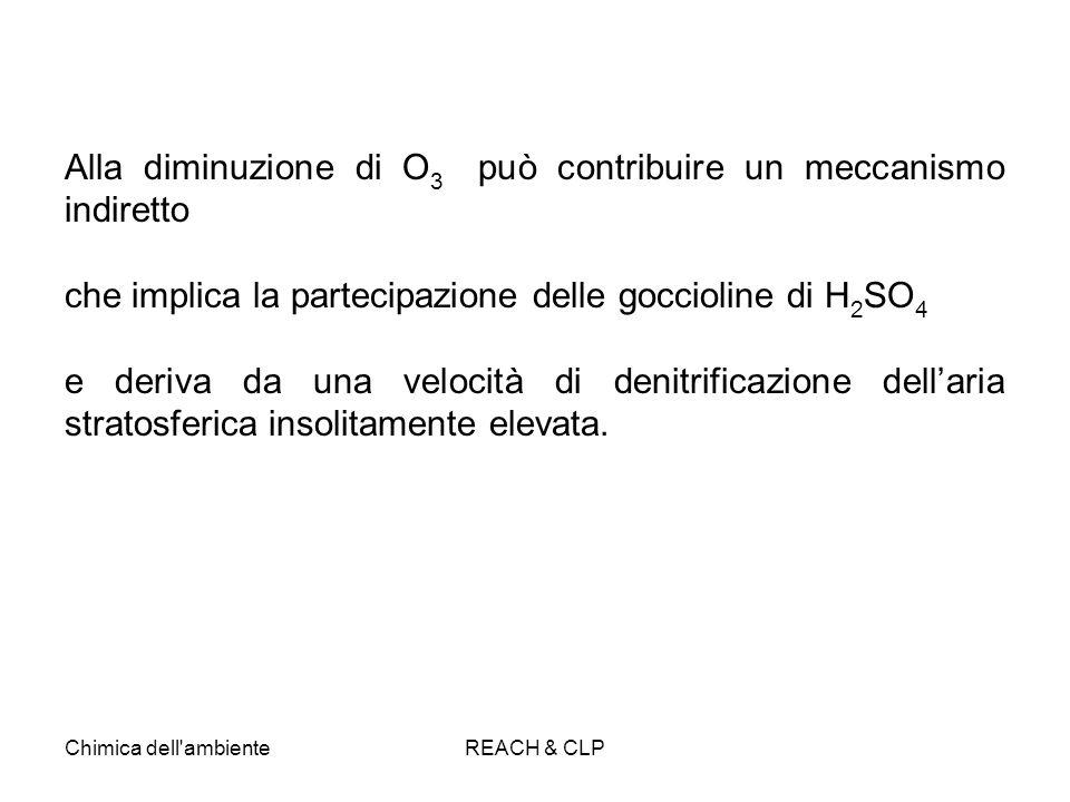 Chimica dell'ambienteREACH & CLP Alla diminuzione di O 3 può contribuire un meccanismo indiretto che implica la partecipazione delle goccioline di H 2