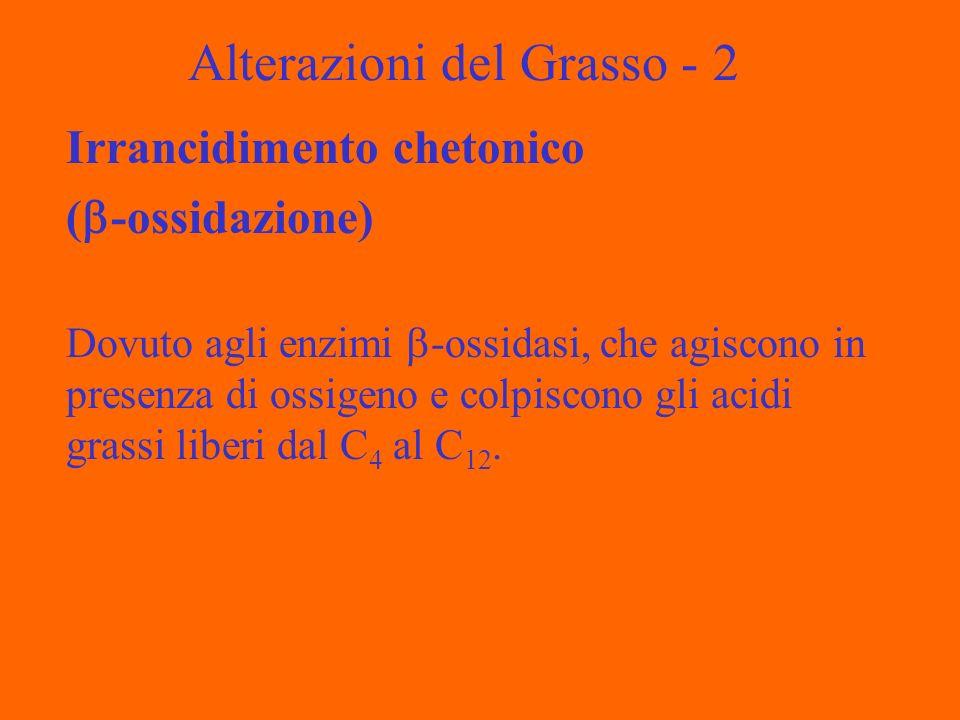 Alterazioni del Grasso - 2 Irrancidimento chetonico ( -ossidazione) Dovuto agli enzimi -ossidasi, che agiscono in presenza di ossigeno e colpiscono gli acidi grassi liberi dal C 4 al C 12.