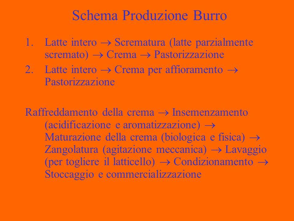 Latticello Il latticello residuo dalla lavorazione del burr contiene circa lo 0,4-0,5% di grasso, ed è acido, con sapore gradevole, ma con elevata carica microbica.