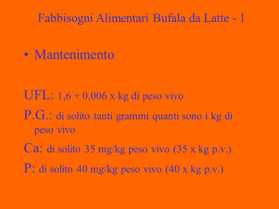Fabbisogni Alimentari Bufala da Latte - 1 Mantenimento UFL: 1,6 + 0,006 x kg di peso vivo P.G.: di solito tanti grammi quanti sono i kg di peso vivo Ca: di solito 35 mg/kg peso vivo (35 x kg p.v.) P: di solito 40 mg/kg peso vivo (40 x kg p.v.)