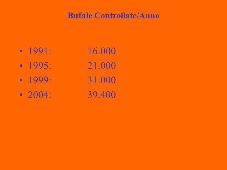 Bufale Controllate/Anno 1991:16.000 1995:21.000 1999:31.000 2004:39.400