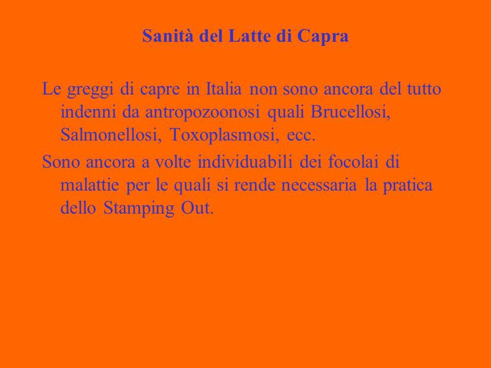Sanità del Latte di Capra Le greggi di capre in Italia non sono ancora del tutto indenni da antropozoonosi quali Brucellosi, Salmonellosi, Toxoplasmosi, ecc.