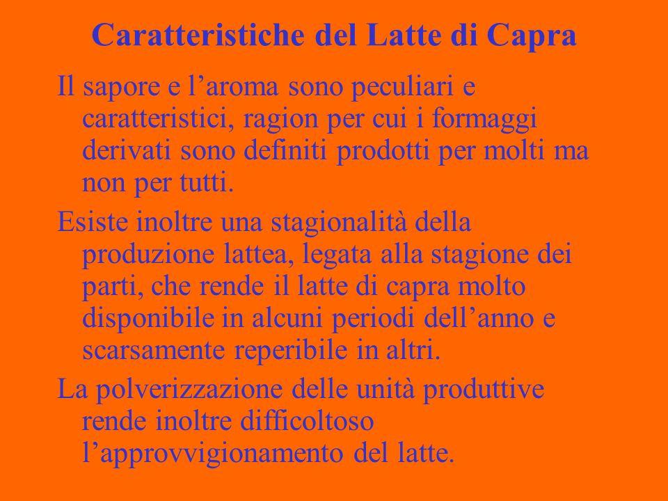 Caratteristiche del Latte di Capra Il sapore e laroma sono peculiari e caratteristici, ragion per cui i formaggi derivati sono definiti prodotti per molti ma non per tutti.