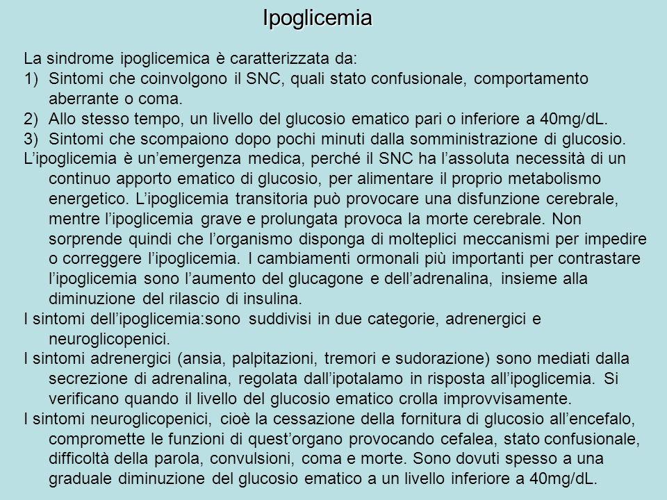 Ipoglicemia La sindrome ipoglicemica è caratterizzata da: 1)Sintomi che coinvolgono il SNC, quali stato confusionale, comportamento aberrante o coma.