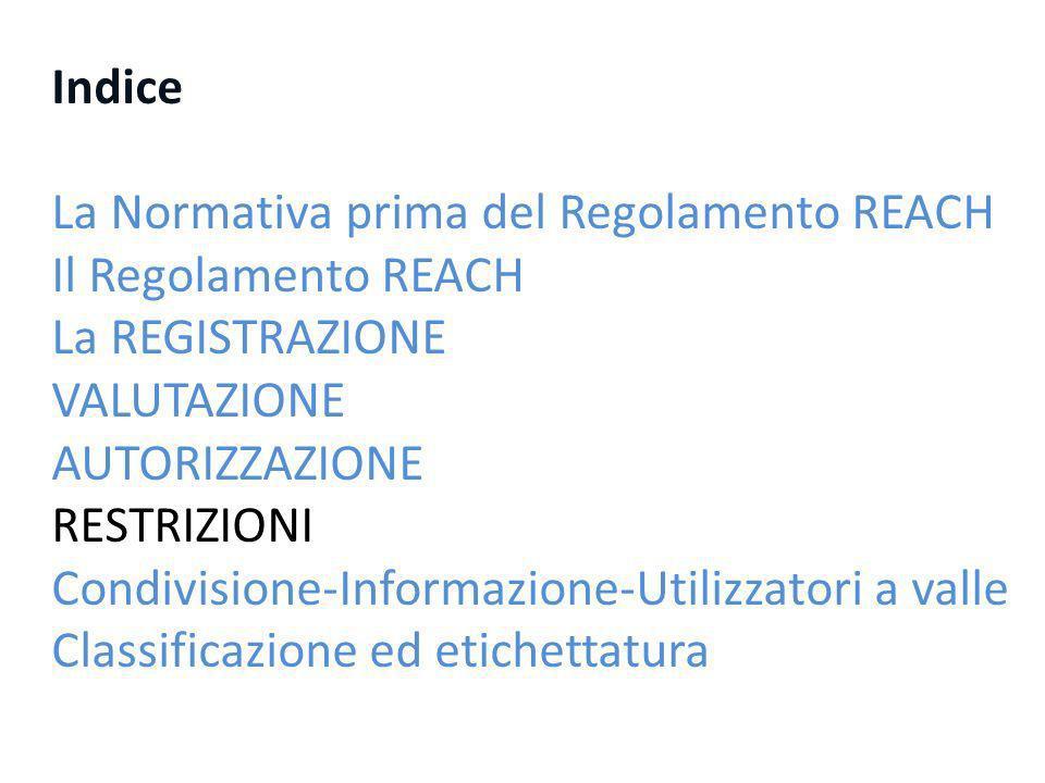 Indice La Normativa prima del Regolamento REACH Il Regolamento REACH La REGISTRAZIONE VALUTAZIONE AUTORIZZAZIONE RESTRIZIONI Condivisione-Informazione-Utilizzatori a valle Classificazione ed etichettatura