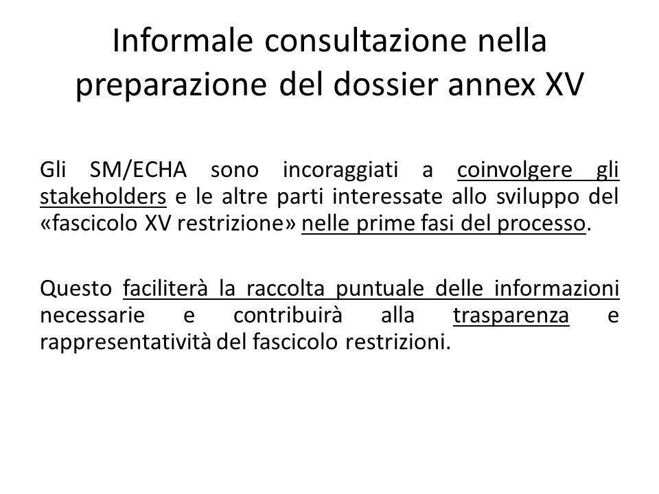 Gli SM/ECHA sono incoraggiati a coinvolgere gli stakeholders e le altre parti interessate allo sviluppo del «fascicolo XV restrizione» nelle prime fasi del processo.