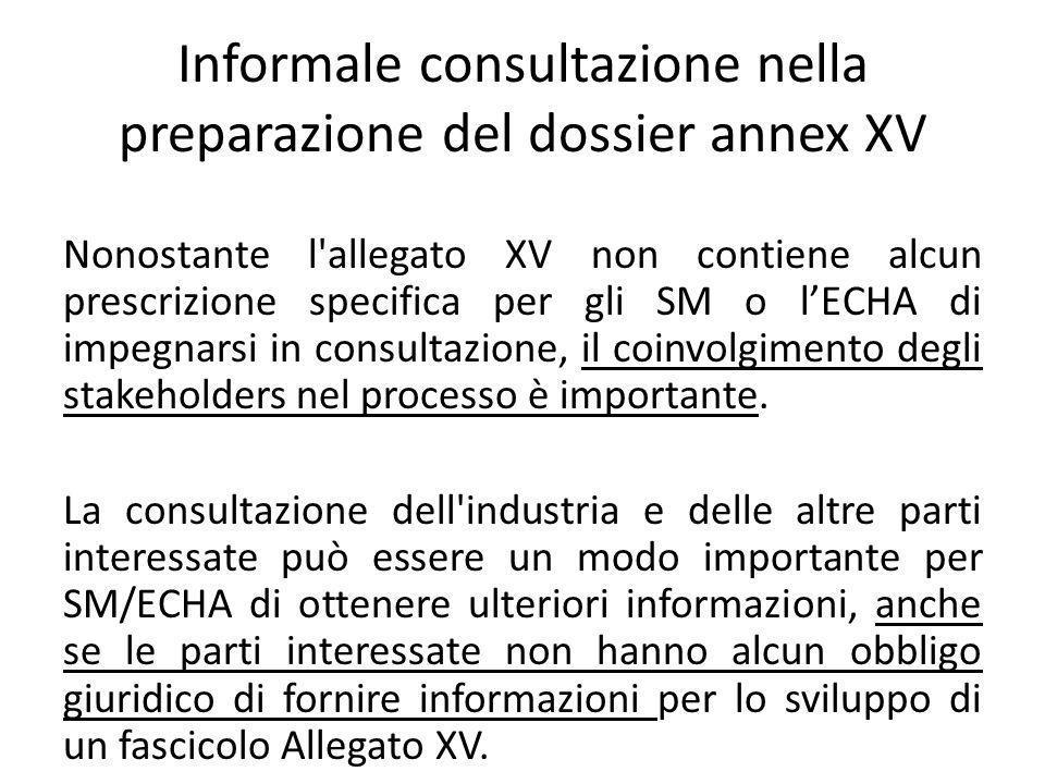 Informale consultazione nella preparazione del dossier annex XV Nonostante l allegato XV non contiene alcun prescrizione specifica per gli SM o lECHA di impegnarsi in consultazione, il coinvolgimento degli stakeholders nel processo è importante.