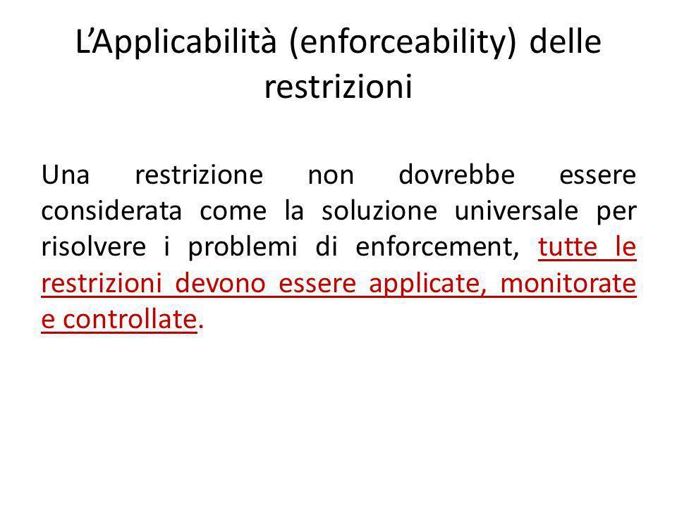 LApplicabilità (enforceability) delle restrizioni Una restrizione non dovrebbe essere considerata come la soluzione universale per risolvere i problemi di enforcement, tutte le restrizioni devono essere applicate, monitorate e controllate.