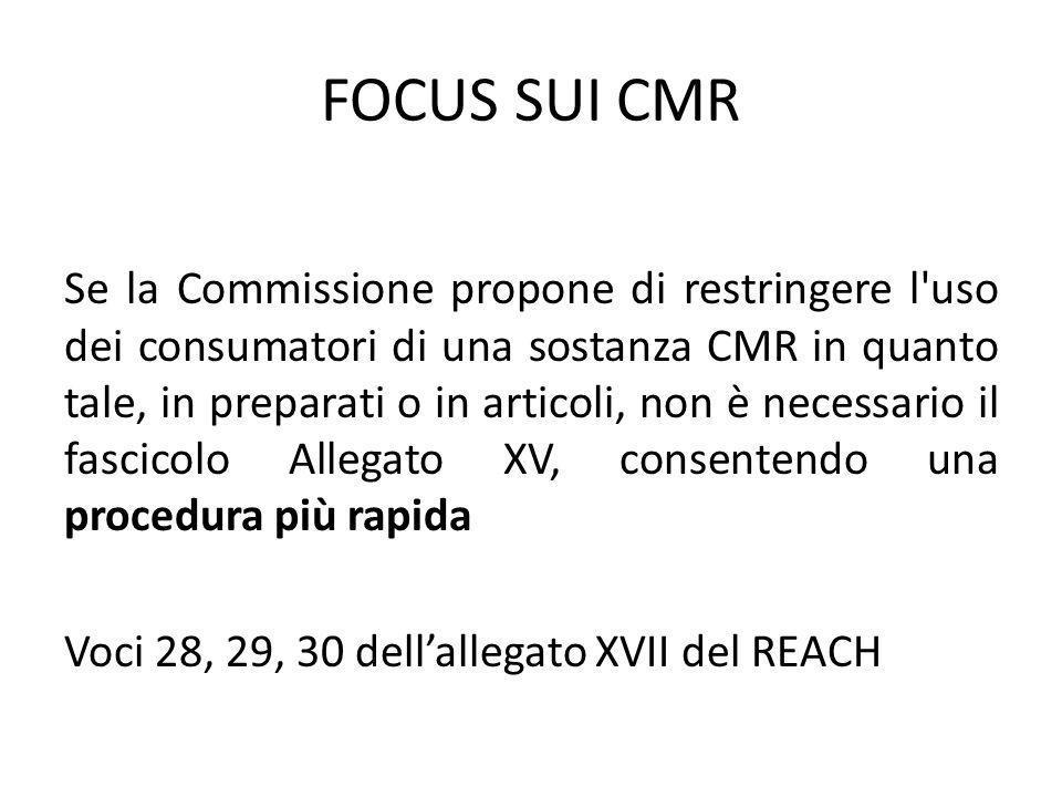 FOCUS SUI CMR Se la Commissione propone di restringere l uso dei consumatori di una sostanza CMR in quanto tale, in preparati o in articoli, non è necessario il fascicolo Allegato XV, consentendo una procedura più rapida Voci 28, 29, 30 dellallegato XVII del REACH
