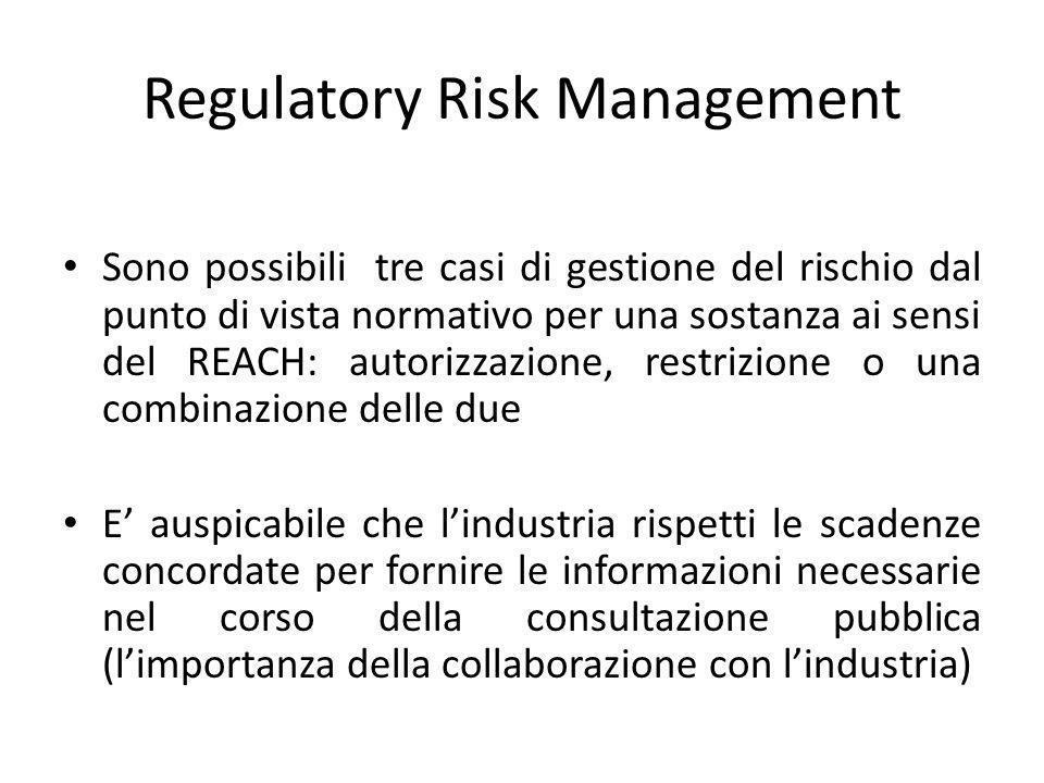 Regulatory Risk Management Sono possibili tre casi di gestione del rischio dal punto di vista normativo per una sostanza ai sensi del REACH: autorizzazione, restrizione o una combinazione delle due E auspicabile che lindustria rispetti le scadenze concordate per fornire le informazioni necessarie nel corso della consultazione pubblica (limportanza della collaborazione con lindustria)