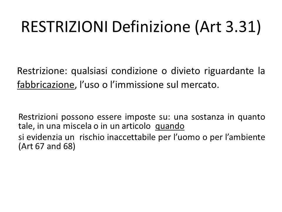 RESTRIZIONI Definizione (Art 3.31) Restrizione: qualsiasi condizione o divieto riguardante la fabbricazione, luso o limmissione sul mercato.