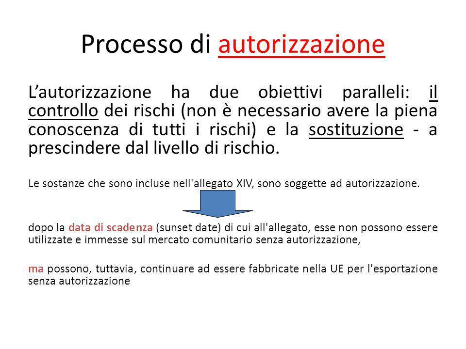 Processo di autorizzazione Lautorizzazione ha due obiettivi paralleli: il controllo dei rischi (non è necessario avere la piena conoscenza di tutti i rischi) e la sostituzione - a prescindere dal livello di rischio.