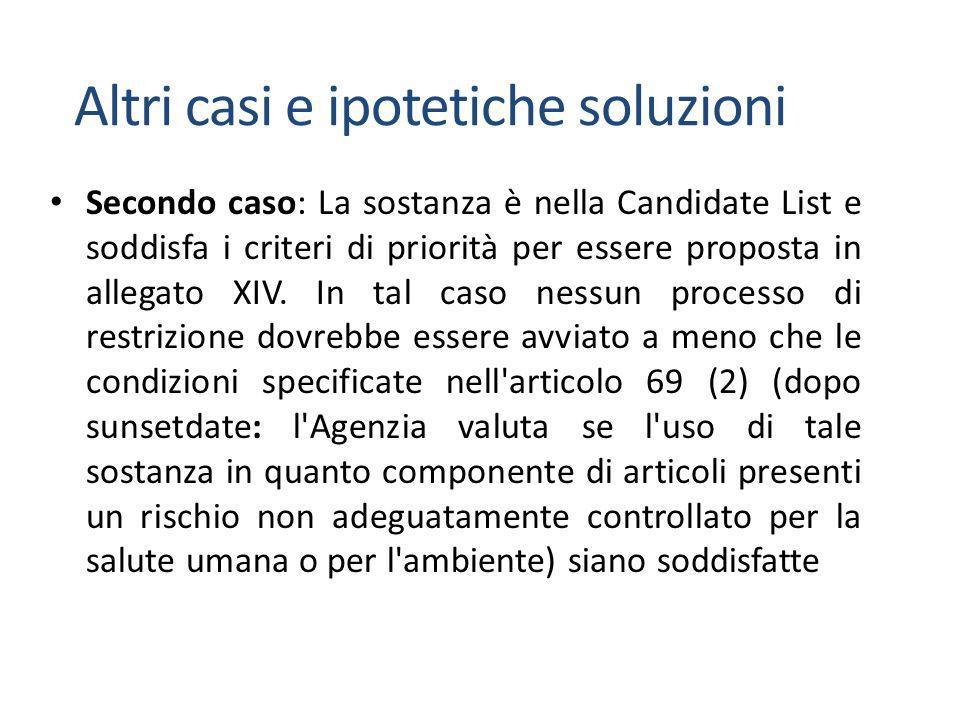 Secondo caso: La sostanza è nella Candidate List e soddisfa i criteri di priorità per essere proposta in allegato XIV.