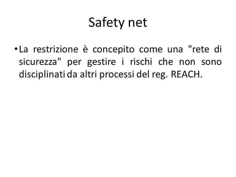 Safety net La restrizione è concepito come una rete di sicurezza per gestire i rischi che non sono disciplinati da altri processi del reg.