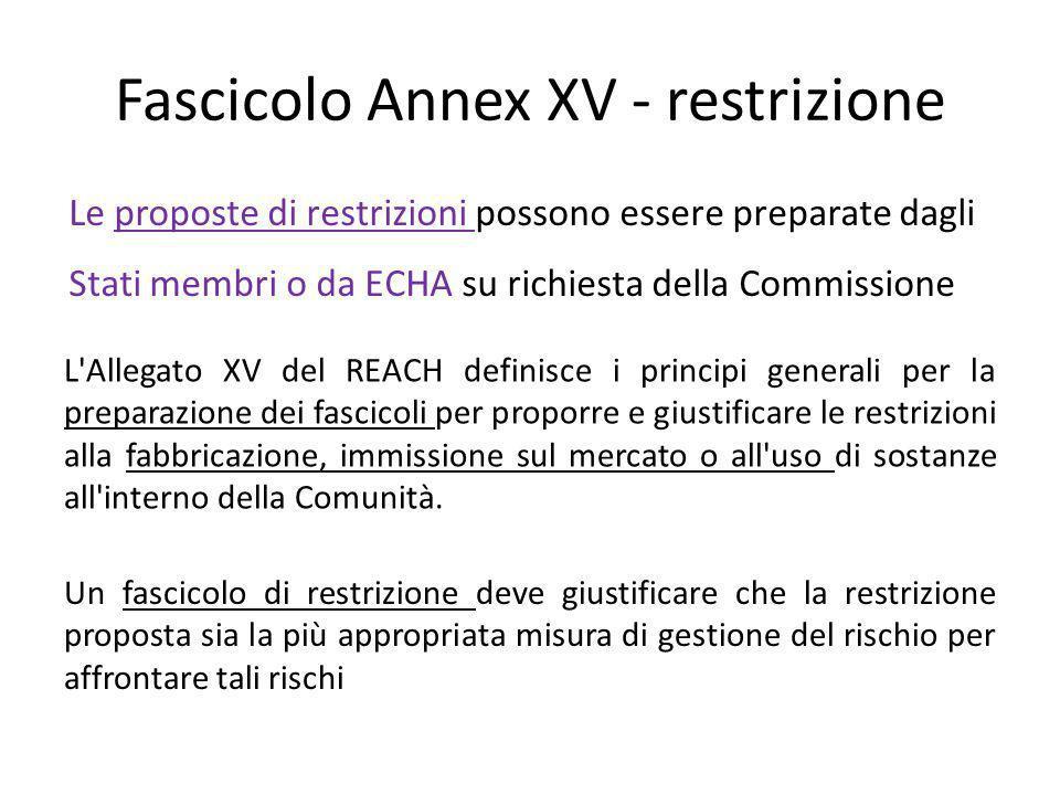 Informale consultazione parti interessate Ogni fascicolo Allegato XV per una restrizione sarà pubblicato (fatti salvi gli articoli 118 e 119 del regolamento REACH) su internet per invitare i commenti delle parti interessate
