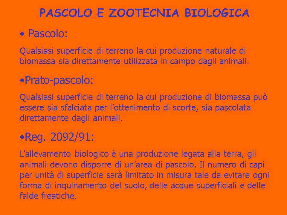 PASCOLO E ZOOTECNIA BIOLOGICA Pascolo: Qualsiasi superficie di terreno la cui produzione naturale di biomassa sia direttamente utilizzata in campo dagli animali.