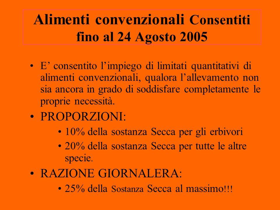 Alimenti convenzionali Consentiti fino al 24 Agosto 2005 E consentito limpiego di limitati quantitativi di alimenti convenzionali, qualora lallevamento non sia ancora in grado di soddisfare completamente le proprie necessità.
