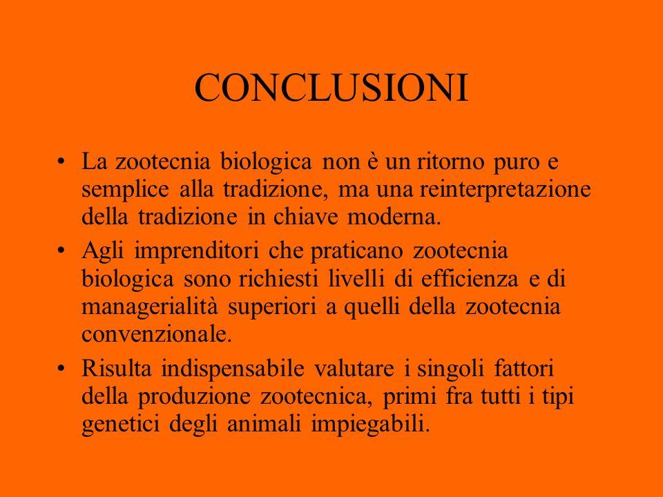 CONCLUSIONI La zootecnia biologica non è un ritorno puro e semplice alla tradizione, ma una reinterpretazione della tradizione in chiave moderna.