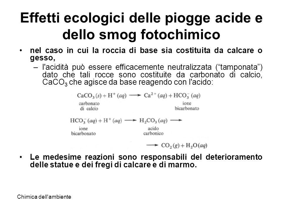 Chimica dell'ambiente Effetti ecologici delle piogge acide e dello smog fotochimico nel caso in cui la roccia di base sia costituita da calcare o gess