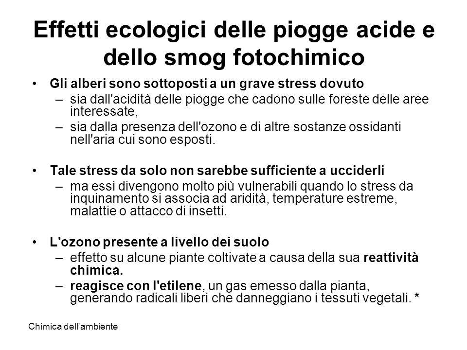 Chimica dell'ambiente Effetti ecologici delle piogge acide e dello smog fotochimico Gli alberi sono sottoposti a un grave stress dovuto –sia dall'acid