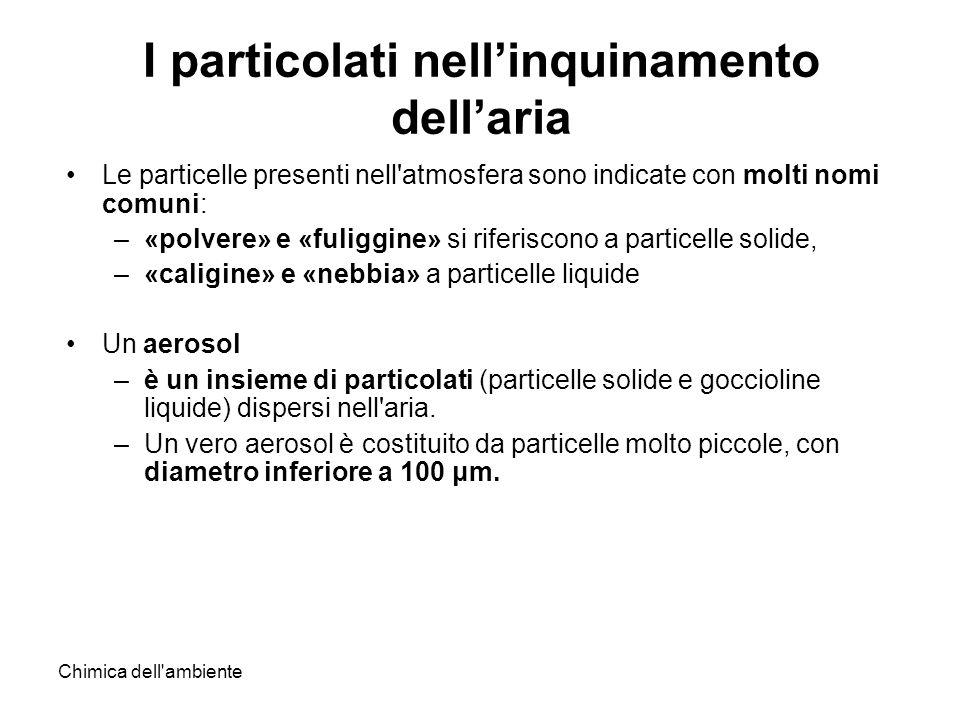 Chimica dell'ambiente I particolati nellinquinamento dellaria Le particelle presenti nell'atmosfera sono indicate con molti nomi comuni: –«polvere» e
