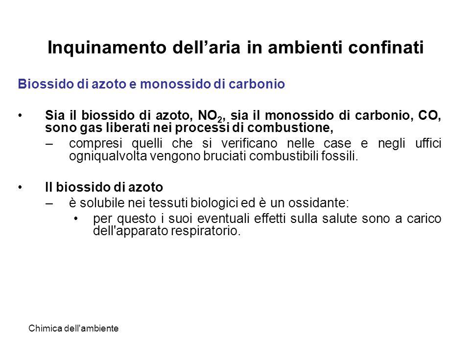 Chimica dell'ambiente Inquinamento dellaria in ambienti confinati Biossido di azoto e monossido di carbonio Sia il biossido di azoto, NO 2, sia il mon