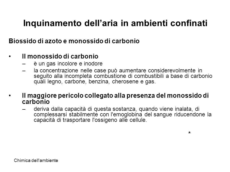 Chimica dell'ambiente Inquinamento dellaria in ambienti confinati Biossido di azoto e monossido di carbonio Il monossido di carbonio –è un gas incolor