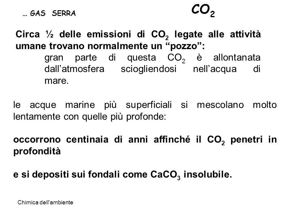 Chimica dell ambiente Circa ½ delle emissioni di CO 2 legate alle attività umane trovano normalmente un pozzo: gran parte di questa CO 2 è allontanata dallatmosfera sciogliendosi nellacqua di mare.