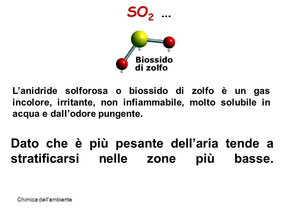Chimica dell ambiente SO 2 … Lanidride solforosa o biossido di zolfo è un gas incolore, irritante, non infiammabile, molto solubile in acqua e dallodore pungente.