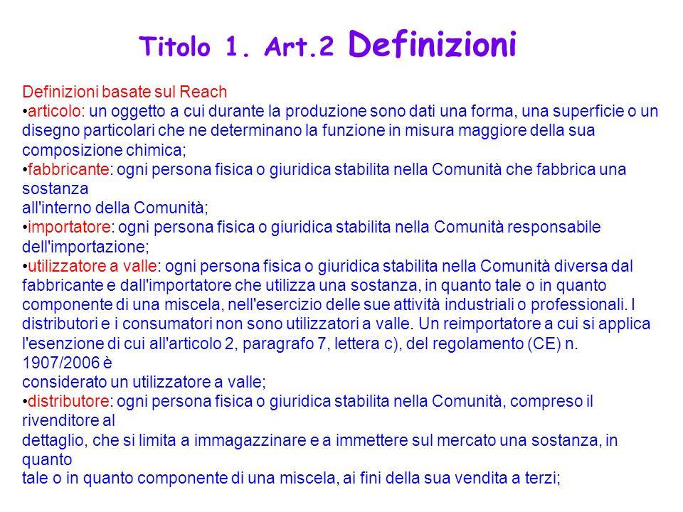 Definizioni basate sul Reach articolo: un oggetto a cui durante la produzione sono dati una forma, una superficie o un disegno particolari che ne dete