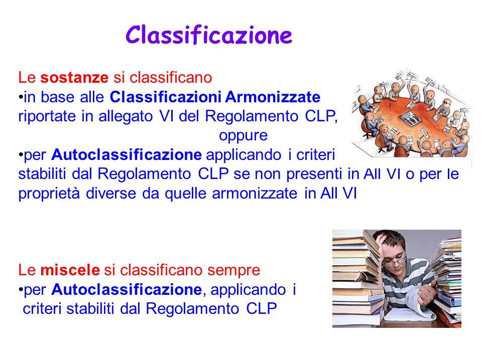 Le sostanze si classificano in base alle Classificazioni Armonizzate riportate in allegato VI del Regolamento CLP, oppure per Autoclassificazione appl