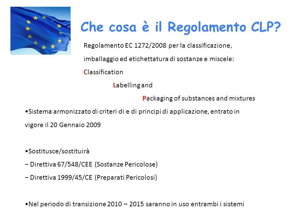 Regolamento EC 1272/2008 per la classificazione, imballaggio ed etichettatura di sostanze e miscele: Classification Labelling and Packaging of substan