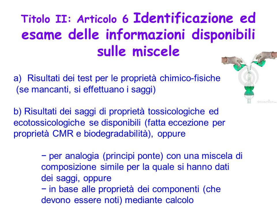 a)Risultati dei test per le proprietà chimico-fisiche (se mancanti, si effettuano i saggi) b) Risultati dei saggi di proprietà tossicologiche ed ecoto