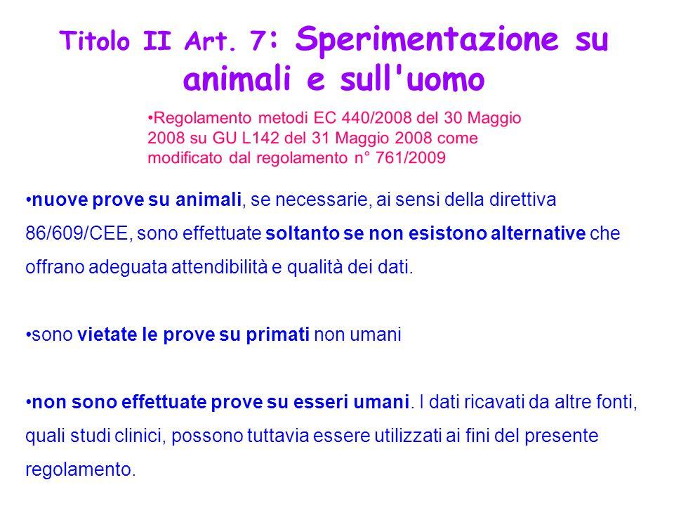 nuove prove su animali, se necessarie, ai sensi della direttiva 86/609/CEE, sono effettuate soltanto se non esistono alternative che offrano adeguata